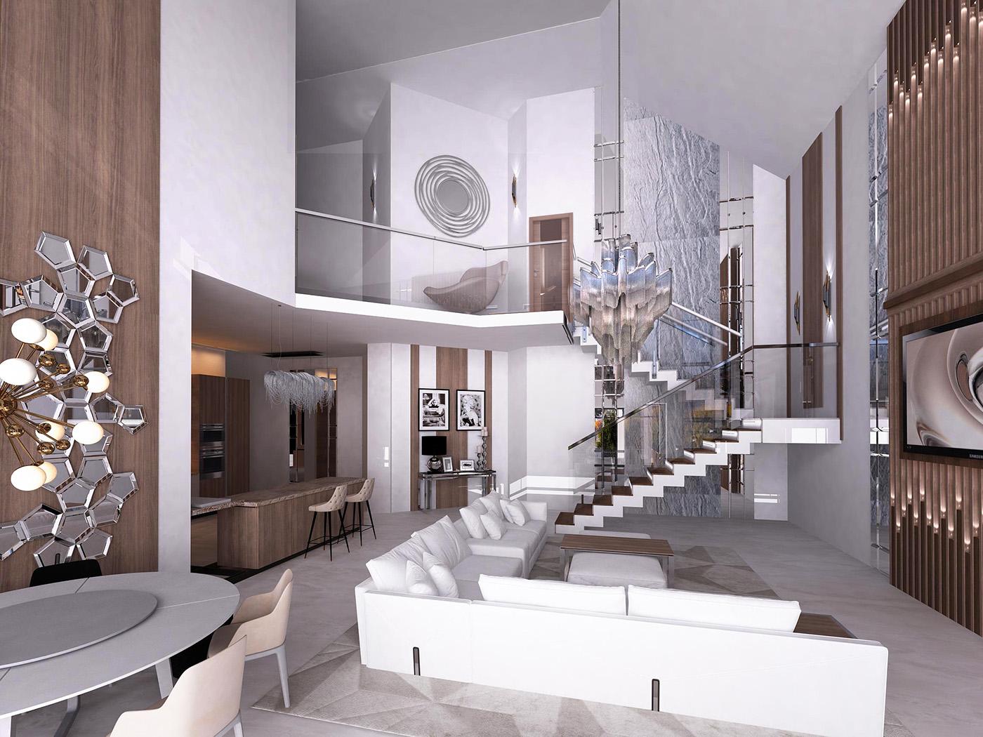 дизайн гостиной лестница