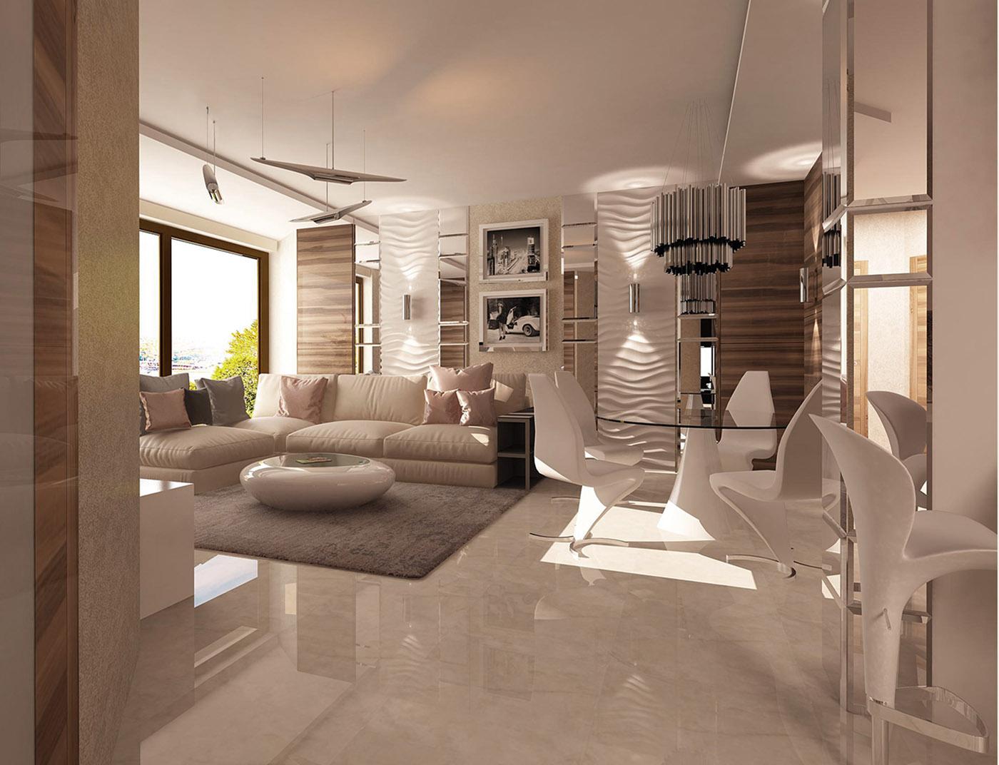дизайн гостиной в современном стиле ЖК Парк Рублево