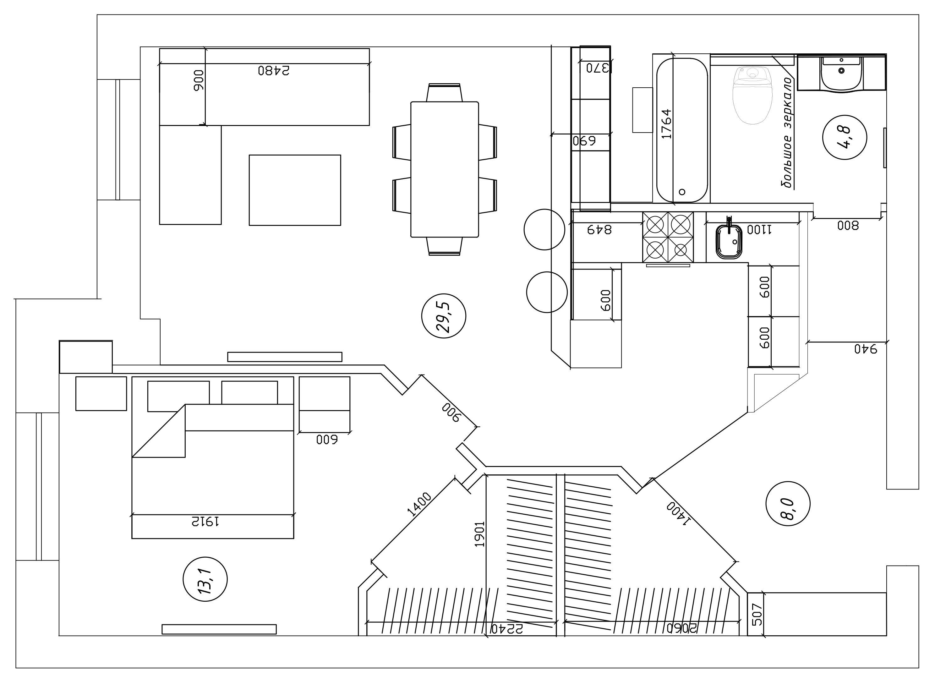 план квартиры 62 кв.м
