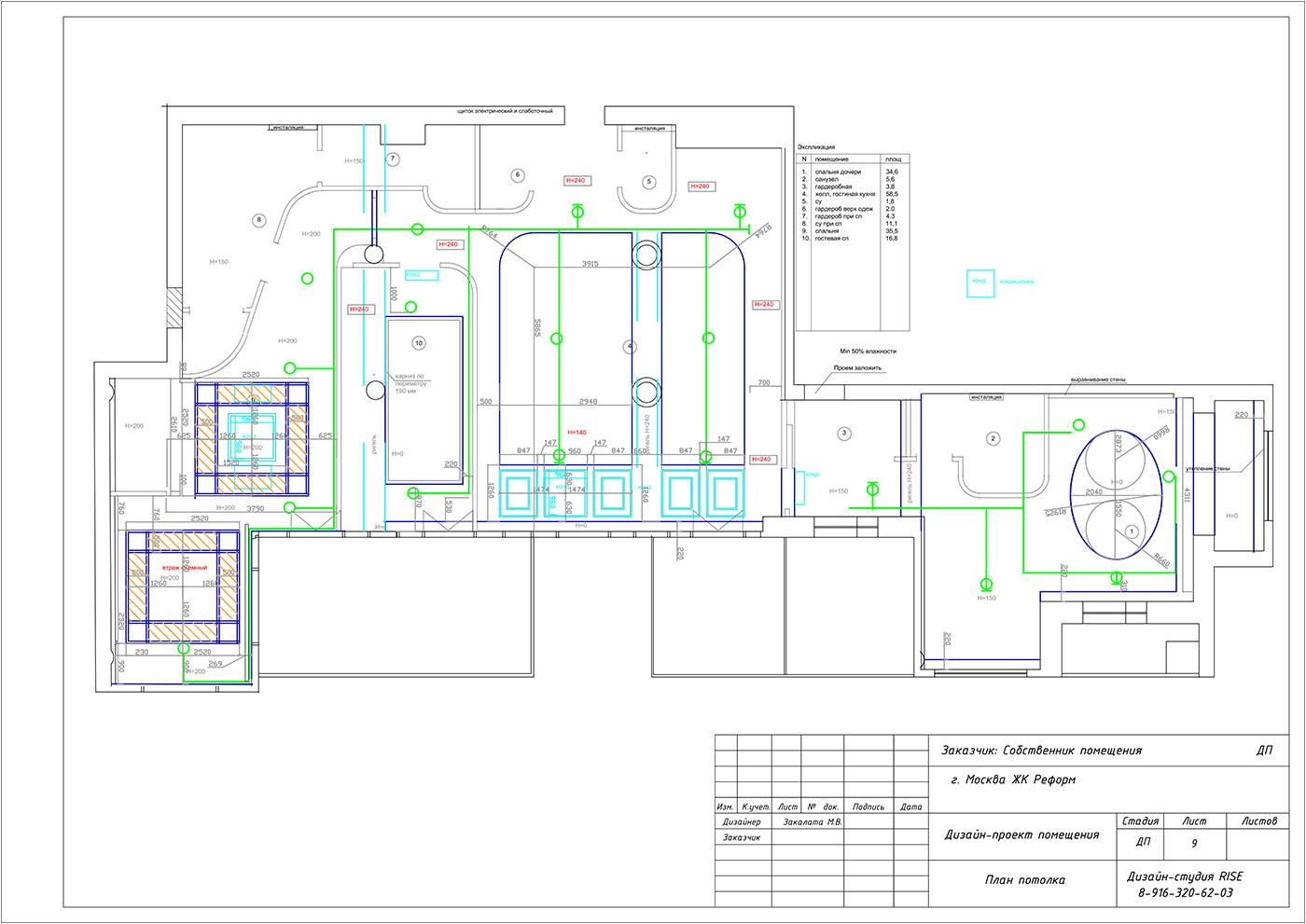 План потолка