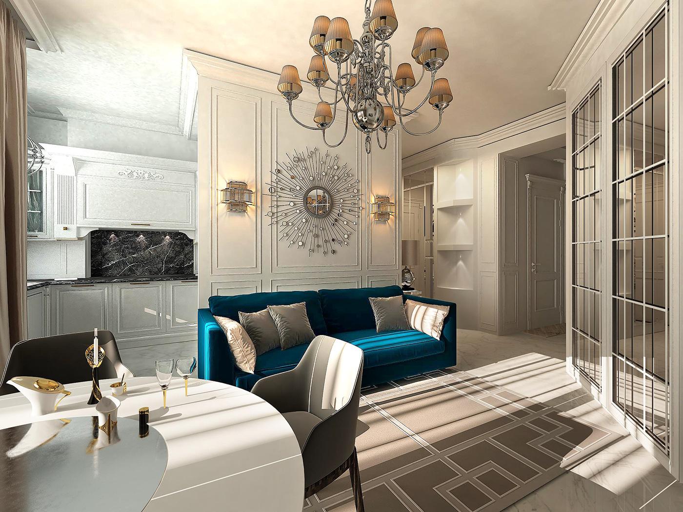 дизайн гостиной ар-деко