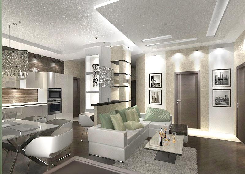 дизайн гостиной кухни-столовой